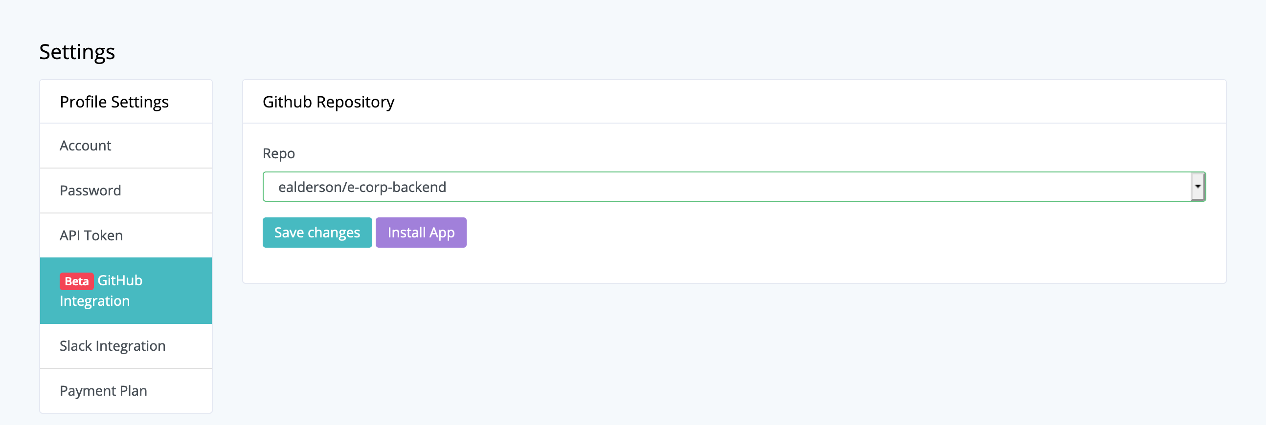 GitHub configuration in Dashboard